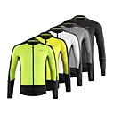 cheap Cycling Pants, Shorts, Tights-Arsuxeo Men's Long Sleeve Cycling Jersey - Dark Grey Green Grey Bike Top Quick Dry Sports 100% Polyester Mountain Bike MTB Road Bike Cycling Clothing Apparel / Micro-elastic