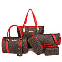 povoljno Komplet torbi-Žene Patent-zatvarač PU Bag Setovi Kompleti za vrećice Geometrijski oblici 6 kom Crn / Red / Bež / Jesen zima