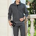 זול בגדי ריצה-בגדי ריקוד גברים טלאים אימונית צבע אחיד ריצה הדרכה פעילה ז'קט ומכנס טרנינג שרוול ארוך לבוש אקטיבי נושם ייבוש מהיר מיקרו-אלסטי רגיל