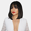 cheap Human Hair Capless Wigs-Human Hair Capless Wigs Human Hair Natural Straight Bob Fashionable Design / Hot Sale / Comfortable Black Medium Length Capless Wig Women's / Natural Hairline