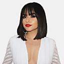 hesapli Bonesiz-İnsan Saçları Kapsız Peruklar Gerçek Saç Doğal düz Bob Saç Kesimi Modaya Uygun Takı / Büyük indirim / Rahat Siyah Orta Bonesiz Peruk Kadın's / Doğal saç çizgisi