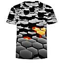 cheap TV Boxes-Men's Basic / Street chic T-shirt - Color Block / 3D Print Round Neck Black US42 / Short Sleeve