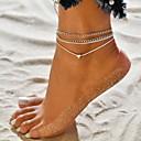 povoljno Ukrasi na tijelu-Žene Gležanj Narukvica nakit za noge Više slojeva Srce jeftino Tropical Bikini Moda Hotwife Kratka čarapa Jewelry Pink Za Kauzalni Bikini