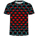 billige Crossbody-vesker-Rund hals T-skjorte Herre - Fargeblokk / 3D, Trykt mønster Gatemote / overdrevet Lilla / Kortermet