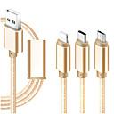 voordelige Mobiele telefoon kabels & Oplader-micro-USB / Verlichting / Type-C Kabel 1m-1.99m / 3ft-6ft Alles-In-1 / Gevlochten / 1 tot 3 tekstiili USB kabeladapter Voor iPad / Samsung / Huawei