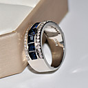 halpa Muotikorvakorut-Naisten Cubic Zirkonia Vintage tyyli Band Ring S925 Sterling Hopea Flower Klassinen Vintage Tyylikäs Muotisormukset Korut Sininen Käyttötarkoitus Häät Kihlaus 6 / 7 / 8 / 9