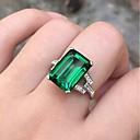 זול טבעות-בגדי ריקוד נשים טבעת אזמרגד סינתטי 1pc ירוק כסוף מסוגנן יומי תכשיטים