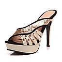 billige Sandaler til damer-Dame PU Sommer Vintage / Britisk Sandaler Stilethæle Åben Tå Sort / Rød / Fest / aften