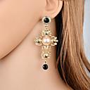 preiswerte Halsketten-Damen Klassisch Tropfen-Ohrringe Hängende Ohrringe Künstliche Perle Ohrringe Kreuz Klassisch Retro Europäisch Elegant Schmuck Gold Für Party Karnival Festival 1 Paar