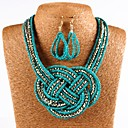cheap Human Hair Wigs-Women's Green Crystal Braided Jewelry Set Include Drop Earrings Necklace White / Black / Blue For Daily