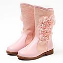 halpa Lasten saappaat-Tyttöjen Nahka Bootsit Taapero (9m-4ys) / Pikkulapset (4-7 vuotta) / Suuret lapset (7 vuotta +) Muotisaappaat / Kengät kukkaistytölle Helmillä / Kukkakuvio Valkoinen / Vaalea vaaleanpunainen Talvi