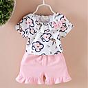 preiswerte Kleidersets für Mädchen-Baby Mädchen Grundlegend Geometrisch Kurzarm Baumwolle / Elasthan Kleidungs Set Rosa