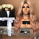 preiswerte Synthetische Perücken mit Spitze-Synthetische Perücken Locken Stil Mittelteil Kappenlos Perücke Rosa Rosa Synthetische Haare 22 Zoll Damen Party Rosa Perücke Lang Natürliche Perücke