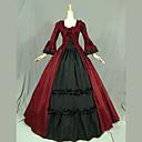 זול תחפושות מהעולם הישן-וינטאג' לוליטה נסיכה רוקוקו שמלות תחפושות קוספליי נקבה Japanese תחפושות Cosplay שחור / אדום / ורוד טלאים פטאל שרוול ארוך מקסי ארוך / ויקטוריאני