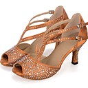 povoljno Cipele za latino plesove-Žene Plesne cipele Sintetika Cipele za latino plesove Umjetni biser / Blistati / Crystal / Rhinestone Štikle Deblja visoka potpetica Moguće personalizirati Crn / Braon / Zelen / Koža