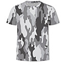 cheap Sexy Bodies-Men's Military Ball Casual / Daily Plus Size Basic / Military Plus Size T-shirt - 3D / Camo / Camouflage Print Round Neck Gray US42 / Short Sleeve