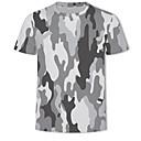 זול גופים סקסיים-3D / להסוות צווארון עגול בסיסי / Military מידות גדולות טישרט - בגדי ריקוד גברים דפוס אפור US42 / שרוולים קצרים