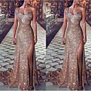 זול כפפות דופט יוקרה-מעטפת \ עמוד כתפיה אחת שובל קורט סאטן שמלה עם שסע קדמי על ידי LAN TING Express