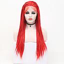 abordables Décorations-Perruque Lace Front Synthétique Box Braids Style Tressage Lace Frontale Perruque Rouge Rouge Cheveux Synthétiques 24 pouce Femme Ajustable / Résistant à la chaleur / Soirée Rouge Perruque Long