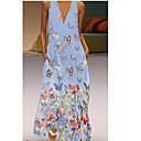 رخيصةأون سټمپک-المرأة ماكسي فستان سوينغ الخامس الرقبة الضوء الأزرق الأرجواني احمرار الوردي ق م ل xl