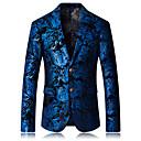 billige Herreblazere og jakkesæt-Herre Blazer, Geometrisk Peak Lapel Rayon / Polyester Blå XXXL / XXXXL / XXXXXL