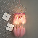 halpa Uni sieppari-käsintehdyt unelma-sieppaajat ledit vaaleanpunainen höyhen seinän koristeet