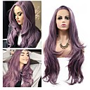 cheap Synthetic Lace Wigs-Synthetic Lace Front Wig Wavy Style Layered Haircut Lace Front Wig Purple Bright Purple Synthetic Hair 24 inch Women's Women Purple Wig Medium Length 130% Density Natural Wigs / Yes
