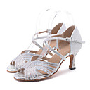 abordables Zapatos de Baile Latino-Mujer Sintéticos Zapatos de Baile Latino Corte Tacones Alto Tacón Carrete Personalizables Plata / Verde / Rosa / Rendimiento / Cuero