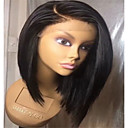 cheap Synthetic Lace Wigs-Synthetic Lace Front Wig Natural Straight Style Side Part Lace Front / Capless Wig Black Dark Black Synthetic Hair 14 inch Women's Lace / Synthetic / Natural Hairline Black Wig Medium Length BLONDE