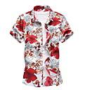 billige Herreskjorter-Tynd Herre - Blomstret Plusstørrelser Skjorte Blå XXXXL