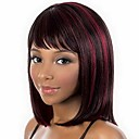 cheap Synthetic Capless Wigs-Synthetic Wig / Bangs kinky Straight Style Bob Capless Wig Burgundy Black / Burgundy Synthetic Hair 14 inch Women's Fashionable Design / Smooth / Classic Burgundy Wig Medium Length Natural Wigs
