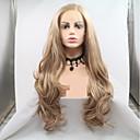 halpa Synteettiset peruukit verkolla-Synteettiset pitsireunan peruukit Laineita / Runsaat laineet Tyyli Kerroksittainen leikkaus Lace Front Peruukki Kulta Golden Blonde Synteettiset hiukset 24 inch Naisten Naisten Kulta Peruukki Pitkä
