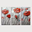 זול ציורים מופשטים-ציור שמן צבוע-Hang מצויר ביד - מופשט פרחוני / בוטני מודרני כלול מסגרת פנימית / שלושה פנלים