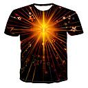 billige iPhone-etuier-Rund hals Herre - Galakse / Farveblok / 3D Trykt mønster T-shirt Sort XXXXL