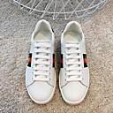 hesapli Kadın Babetleri-Kadın's Ayakkabı Deri Yaz Günlük Düz Ayakkabılar Düz Taban Yuvarlak Uçlu Günlük için Beyaz