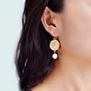 זול Fashion Ring-בגדי ריקוד נשים עגילי טיפה גיאומטרי הצהרה מסוגנן עיצוב מיוחד דמוי פנינה עגילים תכשיטים זהב עבור יומי קרנבל חגים פֶסטִיבָל זוג 1