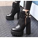 preiswerte Taschensets-Damen Leder Herbst Winter Stiefel Blockabsatz Booties / Stiefeletten Schwarz