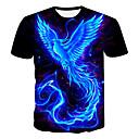 billige Bordlamper-Rund hals Store størrelser T-skjorte Herre - 3D / Dyr / Tegneserie, Trykt mønster Svart XXXL