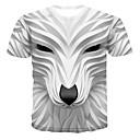 preiswerte Hülse Tätowierung-Herrn 3D / Tier T-shirt, Rundhalsausschnitt Druck Weiß US40