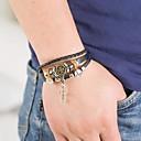 cheap Men's Bracelets-Men's Wrap Bracelet Braided Cross Punk Leatherette Bracelet Jewelry Black For Daily