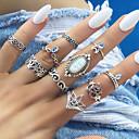 זול טבעות-בגדי ריקוד נשים טבעת טבעת הגדר 10pcs כסף סגסוגת מעגלי Geometric Shape פשוט טרנדי מתוק חתונה תכשיטים לא תואם נחש ינשוף לדמיין חמוד