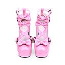 baratos Sapatos Lolita-Princesa Salto Grosso Sapatos Sólido 9.5 cm CM Rosa Para Mulheres PU Leather Trajes da Noite das Bruxas
