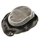 お買い得  人工毛キャップレスウィッグ-男性用 人毛 ヘアピース ストレート 新参者 / ホット販売 / 着色 / ブラック