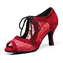 povoljno Cipele za latino plesove-Žene Plesne cipele Eko koža Cipele za latino plesove Štikle Kubanska potpetica Moguće personalizirati Crn / Crvena / Seksi blagdanski kostimi / Koža / Vježbanje