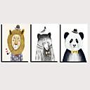 halpa Tulosteet-Painettu Valssatut kangasjulisteet Pingoitetut kanvasprintit - Eläimet Sarjakuva Klassinen Moderni 3 paneeli Art Prints