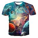 abordables Camisas de Hombre-Hombre Estampado Camiseta, Escote Redondo Galaxia Arco Iris XXXXL / Verano