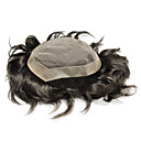 cheap Human Hair Wigs-Men's Human Hair Toupees Straight Full Lace New Arrival / Coloring / Youth / Black
