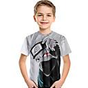 billige Træsko ogtøfler til damer-Børn Baby Drenge Aktiv Basale Trykt mønster Trykt mønster Kortærmet Polyester Spandex T-shirt Grå