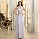 זול שמלות שושבינה-גזרת A עם תכשיטים עד הריצפה שיפון / תחרה שמלות חתונה עם חרוזים / אפליקציות / תחרה על ידי JUDY&JULIA