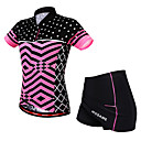 cheap Cycling Jerseys-WOSAWE Women's Short Sleeve Cycling Jersey with Skirt Fuchsia Bike Skirt Jersey Padded Shorts / Chamois Breathable Moisture Wicking Quick Dry Reflective Strips Sports Elastane Scales Mountain Bike
